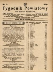 Tygodnik Powiatowy na Powiat Rybnicki, 1936, nr 17