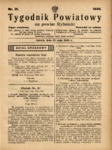 Tygodnik Powiatowy na Powiat Rybnicki, 1936, nr 21