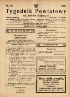 Tygodnik Powiatowy na Powiat Rybnicki, 1936, nr 32