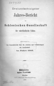 Jahres-Bericht der Schlesischen Gesellschaft für vaterlandische Cultur. Enthält den Generalbericht über die Arbeiten und Veränderungen der Gesselschaft im Jahre 1905