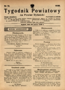 Tygodnik Powiatowy na Powiat Rybnicki, 1938, nr 12