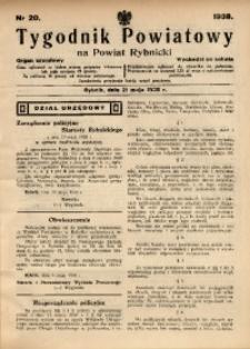 Tygodnik Powiatowy na Powiat Rybnicki, 1938, nr 20