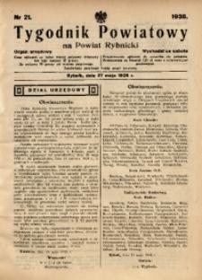 Tygodnik Powiatowy na Powiat Rybnicki, 1938, nr 21
