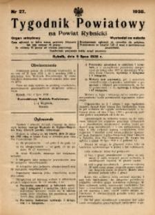 Tygodnik Powiatowy na Powiat Rybnicki, 1938, nr 27