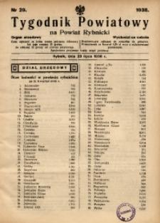 Tygodnik Powiatowy na Powiat Rybnicki, 1938, nr 29