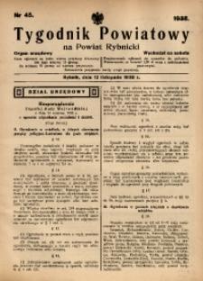 Tygodnik Powiatowy na Powiat Rybnicki, 1938, nr 45