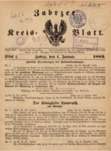 Zabrzer Kreis-Blatt, 1883, St. 1