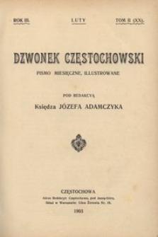 Dzwonek Częstochowski : pismo miesięczne, illustrowane. 1903, R.3, T.2(20) - luty