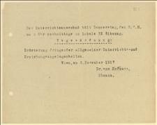 Zaproszenie na posiedzenie Wydziału Oświaty w dniu 08.11.1917 r. - Wiedeń, 06.11.1917 r.