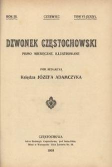 Dzwonek Częstochowski : pismo miesięczne, illustrowane. 1903, R.3, T.6(24) - czerwiec