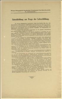 """Odezwa """"Wiener Pädagogishe Gesellschaft"""" przedstawiająca sprawozdanie posła A. M. Kemettera wszystkim stronnictwom i partiom. 8 zasad wykształcenia nauczycieli"""