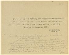 Zaproszenie na posiedzenie Wydziału Oświaty w dniu 20.12.1917 r. po obradach Izby - Wiedeń, 20.12.1917 r.