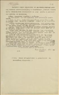 Dosłowny odpis odpowiedzi od przewodniczącego gminnej komisji administracyjnej w Rychwałdzie, Henryka Szmuka danej Stanisławowi Knapczykowi na jego prośbę o pozwolenie powrotu do Rychwałdu