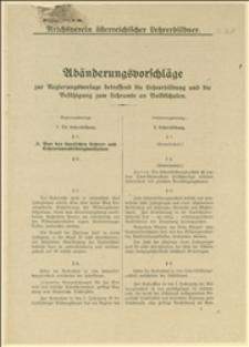 """Poprawki zgłoszone przez """"Reichsverein österreichischer Lehrerbildner"""" do projektu rządowego o reformie zakładów kształcenia nauczycieli"""