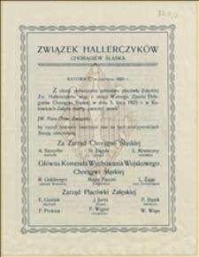 Zaproszenie i program Wolnego Zjazdu Delegatów Chorągwi Śląskiej Związku Hallerczyków w Katowicach Załężu w dniach 04,05.07.1925 r.