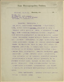 Pismo Tadeusza Regera do Zygmunta Glücksmana, adwokata w Bielsku z interwencją w sprawie Jana Kotasa z Pastwisk, Cieszyn, 26.10.1931 r.