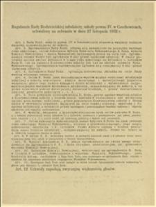 Regulamin Rady Rodzicielskiej młodzieży szkoły powsz. IV. w Czechowicach uchwalony na zebraniu w dniu 27 listopada 1932 r.