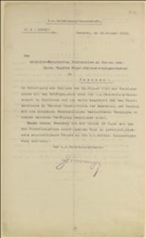 Odpowiedź c.k. Starostwa w Cieszynie na interpelację socjaldemokratycznego Komitetu Wyborczego w Cieszynie na ręcę T. Regera w sprawie zarządzonego terminu wyborów - Cieszyn, 20.01.1913 r.
