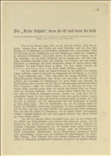 """Odezwa przestawiająca program działalności """"Freie Schule"""", oraz sprawozdanie roczne z działalności w 1906 r."""