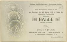 """Zaproszenie na bal karnawałowy urządzony przez """"Verband der Metallarbeiter Ostgruppe Teschen"""" w dniu 22.01.1910 r. w Cieszynie"""