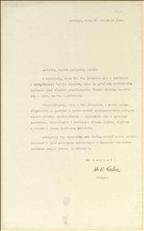 """List K. Kulisza w imieniu Zarządu zapraszający na """"święto żniwowe"""" zorganizowane w dniu 19.09.1926 r. w zakładzie w Dzięgielowie - Cieszyn, 17.09.1926 r."""