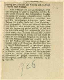 """""""Ausflug der Industrie, des Handels und des Handwerks nach Cieszyn..."""""""
