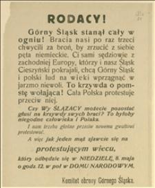 Odezwa Komitetu Obrony Górnego Śląska wzywająca na wiec protestacyjny w Cieszynie w dniu 08.05.1921 r. przeciw stanowisku państw ententy