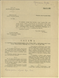 Projekt ustawy o uzupełnieniu ustawy konstytucyjnej z dnia 15.07.1920 r. zawierającej statut organiczny Województwa Śląskiego