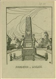 Karta pamiątkowa z odsłonięcia Pomnika Wolności w Dziedzicach