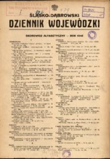 Śląsko-Dąbrowski Dziennik Wojewódzki. Skorowidz alfabetyczny, rok 1945