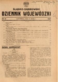 Śląsko-Dąbrowski Dziennik Wojewódzki, 1947, nr 12