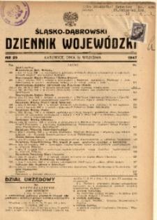 Śląsko-Dąbrowski Dziennik Wojewódzki, 1947, nr 29