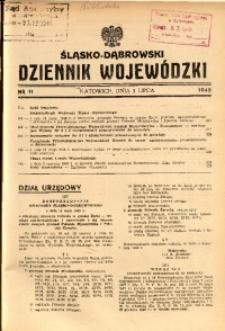 Śląsko-Dąbrowski Dziennik Wojewódzki, 1948, nr 11