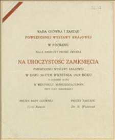 Zaproszenie i program uroczystości zamknięcia Powszechnej Wystawy Krajowej w dniu 30.09.1929 r. w Poznaniu