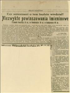 Artykuł o przymusie stosowanym w akcji wysyłania pocztówek z życzeniami imieninowymi dla J. Piłsudskiego