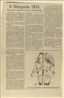 """Artykuł okolicznościowy Ignacego Daszyńskiego """"6 sierpnia 1914. Znaczenie polityczne czynu Piłsudzkiego..."""" oraz karykatura Józefa Piłsudskiego z siedzącym orłem na barku narysowana przez Edwarda Głowackiego"""