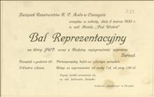 Zaproszenie na Bal Reprezentacyjny Związku Rezerwistów R.P. Koło w Cieszynie - Cieszyn, 02.03.1935 r.