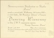 """Zaproszenie Stowarzyszenia Studentów ze Śląska """"Znicz"""" na Dancing Wiosenny w dniu 22.04.1935 r."""