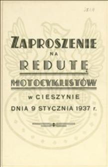 Zaproszenie na redutę motocyklistów w Cieszynie dnia 09.01.1937 r.