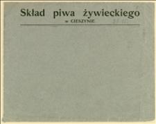 """Karta przednia koperty z nadrukiem """"Skład piwa żywieckiego w Cieszynie"""""""