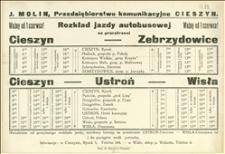Rozkład jazdy autobusowej na przestrzeni Cieszyn-Zebrzydowice oraz Cieszyn-Ustroń-Wisła