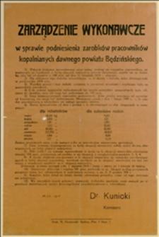 Afisz - Zarządzenie Wykonawcze w sprawie podniesienia zarobków pracowników kopalnianych dawnego powiatu będzińskiego - 15.12.1918 r.