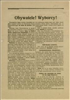 Odezwa KW PPSD Galicji i Śląska w związku z wyborami do Sejmu Ustawodawczego w dniu 26.01.1919 r.