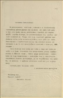 Odpowiedź T. Regera na list E. Chobota - Cieszyn, 13.03.1919 r.