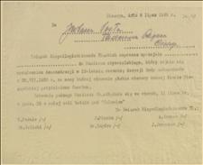Związek Niepodległościowców Śląskich zaprasza uprzejmie... do Komitetu obywatelskiego, który zajmie się urządzeniem demonstracji w 15-letnią rocznicę decyzji Rady Ambasadorów z 28.VII.1920 r. - Cieszyn, 06.07.1935 r.