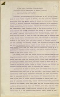 Projekt odezwy Kongresu Zjednoczeniowego PPS do Międzynarodówki socjalistycznej w sprawie konfliktu czesko polskiego na Śląsku Cieszyńskim - Kraków, 27.04.1919 r.