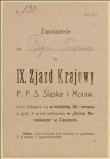 Zaproszenie dla T. Regera na IX Zjazd Krajowy PPS Śląska i Moraw w dniu 29.06.1919 r.