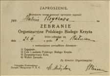 Zaproszenie na zebranie organizacyjne Polskiego Białego Krzyża
