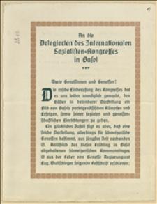 Pismo powitalne organizacji socjaldemokratycznej w Bazylei skierowane do delegatów Międzynarodowego Kongresu Socjalistycznego