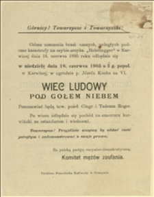 """Ulotka wzywająca na wiec ludowy w dniu 18.06.1905 r. w Karwinie w 10 rocznicę katastrofy na szybie arcyks. """"Hohenegger"""""""